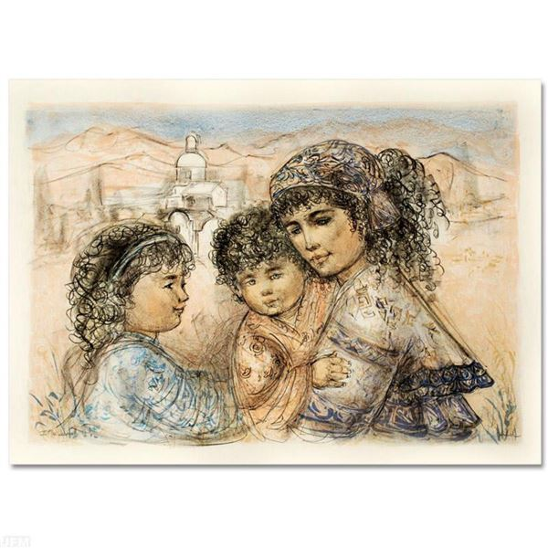 """Zalina with Aries and Ande"" Limited Edition Lithograph by Edna Hibel, Numbered and Hand Signed with"