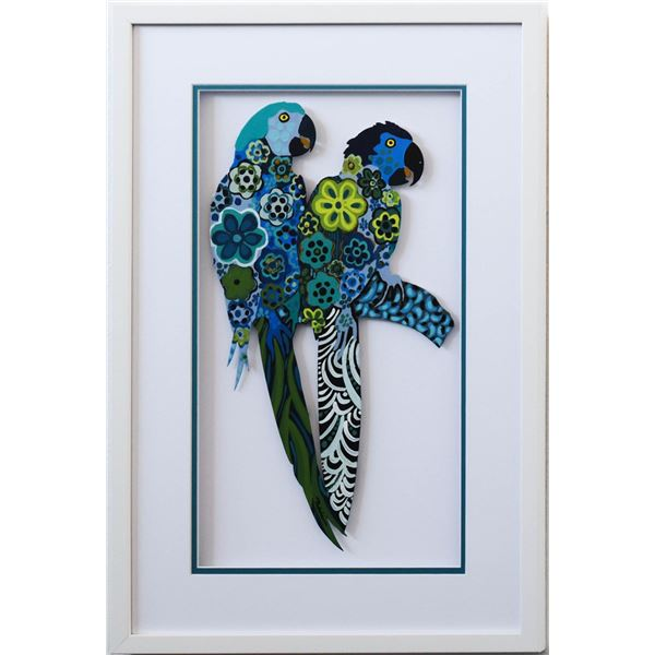 "Patricia Govezensky- Original Painting on Laser Cut Steel ""Two Parrots XVII"""