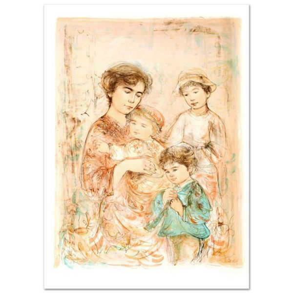 """Lotte and Her Children"" Limited Edition Lithograph (27"" x 37.5"") by Edna Hibel (1917-2014), Numbere"