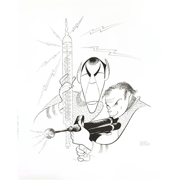 Al Hirschfeld- Original Lithograph on Paper  Star Trek - Captain Kirk and Spock
