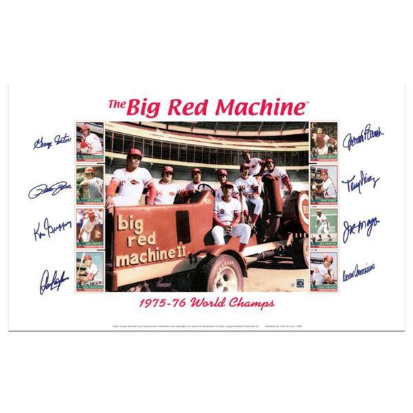 """Big Red Machine Tractor"" Lithograph Signed by the Big Red Machine's Starting Eight, with Certificat"