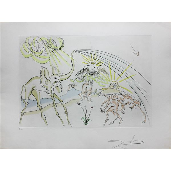 """Salvador Dali- Original Engravings with color by pochoir """"The Animals ill with the Plague"""""""