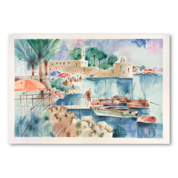 """Shmuel Katz (1926-2010), """"Sea of Galilee"""" Hand Signed Limited Edition Serigraph on Paper with Letter"""
