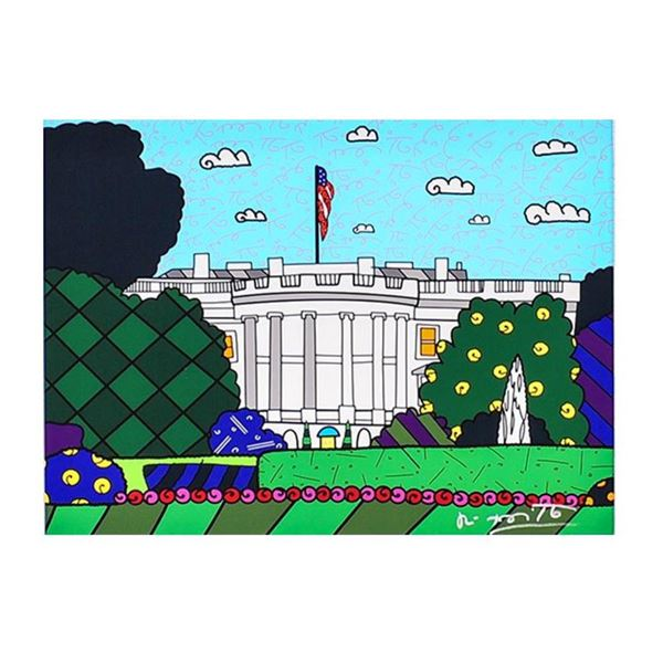 """Romero Britto """"1600 Pennsylvania Avenue"""" Hand Signed Limited Edition Giclee on Canvas; Authenticated"""