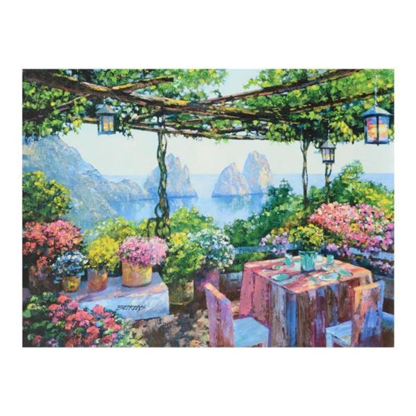 """Howard Behrens (1933-2014), """"Table For Two, Capri"""" Limited Edition on Canvas, Numbered and Signed wi"""