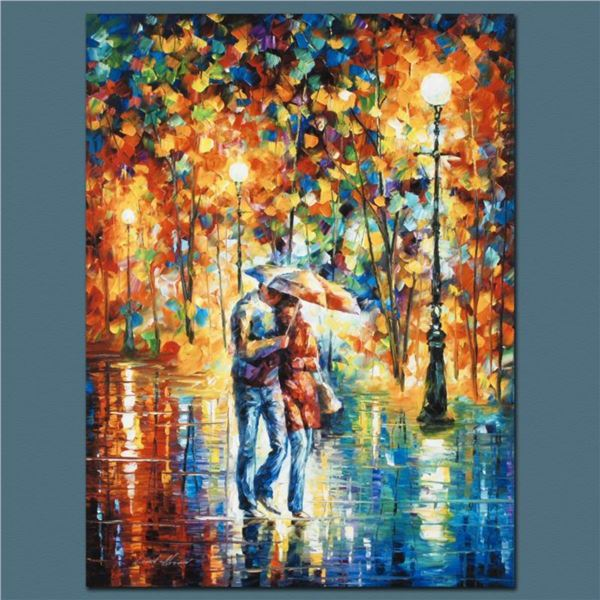 """Leonid Afremov (1955-2019) """"Rainy Evening"""" Limited Edition Giclee on Canvas, Numbered and Signed. Th"""