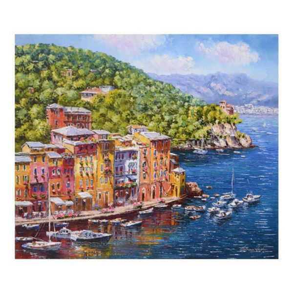 """Sam Park, """"Portofino"""" Hand Embellished Limited Edition Serigraph on Canvas, Numbered and Hand Signed"""