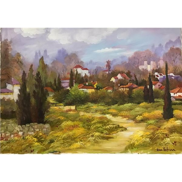 """Zina Roitman- Original Oil on Canvas """"Village in the Country"""""""