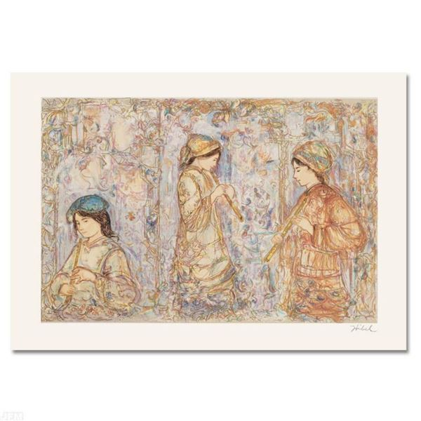 """""""Music in the Garden"""" Limited Edition Serigraph by Edna Hibel (1917-2014), Numbered and Hand Signed"""