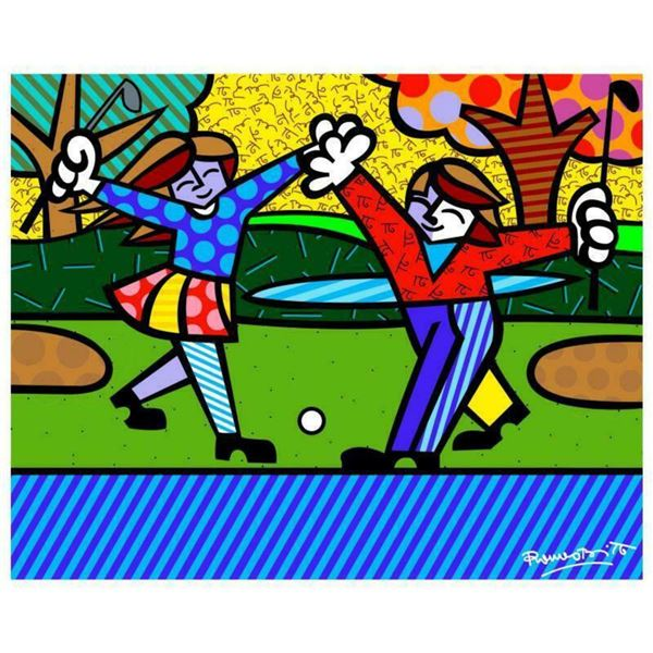 "Romero Britto ""New Golfer"" Hand Signed Giclee on Canvas; Authenticated"