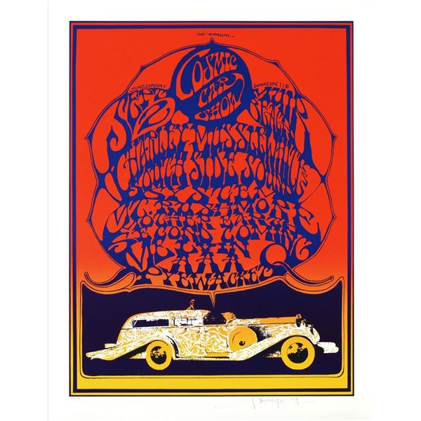 "Stanley Mouse (b. 1940)- Hand Pulled Original Lithograph ""Cosmic Car show"""