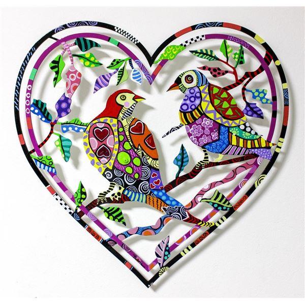"Patricia Govezensky- Original Painting on Laser Cut Steel ""Love Birds V"""