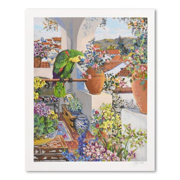 "John Powell, ""Parrot & Rooftops"" Limited Edition Serigraph, Numbered and Hand Signed with Letter of"