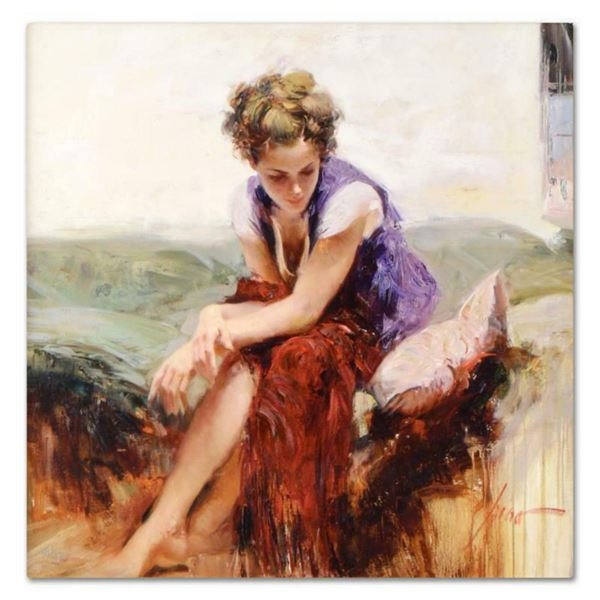"Pino (1939-2010), ""Francesca"" Artist Embellished Limited Edition on Canvas, Numbered and Hand Signed"