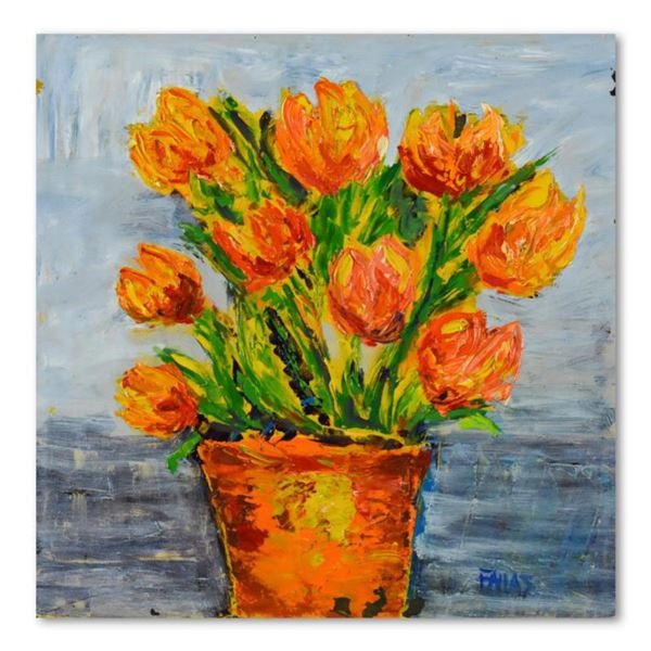 "Elliot Fallas, ""Impasto Orange Floral"" Original Oil Painting on Gallery Wrapped Canvas, Hand Signed"