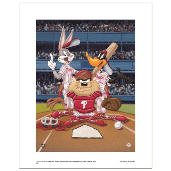"""At the Plate (Phillies)"" Numbered Limited Edition Giclee from Warner Bros. with Certificate of Auth"