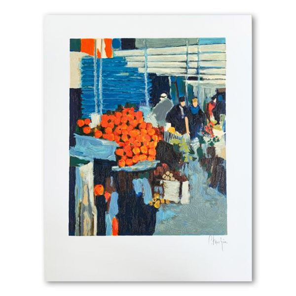"""Claude Fauchere, """"The Fruit Market"""" Hand Signed Limited Edition Serigraph on Paper with Letter of Au"""