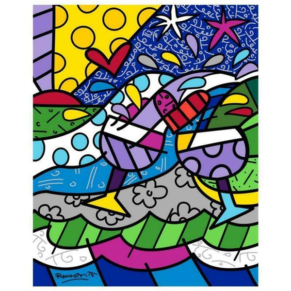 """Romero Britto """"Wine Country Purple"""" Hand Signed Limited Edition Giclee on Canvas; COA"""