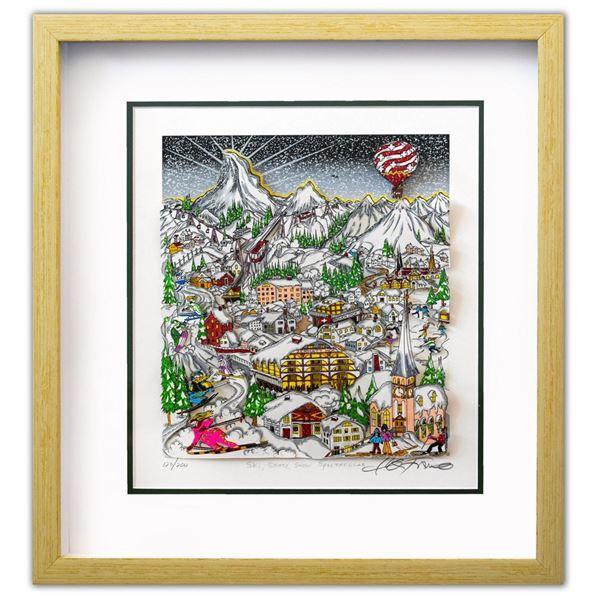 "Charles Fazzino- 3D Construction Silkscreen Serigraph ""Ski, Skate, Snow Spectacular"""