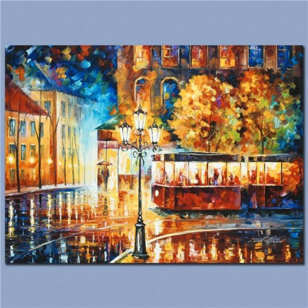 """Leonid Afremov (1955-2019) """"Night Trolley"""" Limited Edition Giclee on Canvas, Numbered and Signed. Th"""