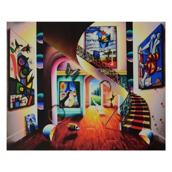"""Ferjo, """"Surreal Room with Masked Dali"""" Limited Edition on Canvas, Numbered and Signed with Letter of"""