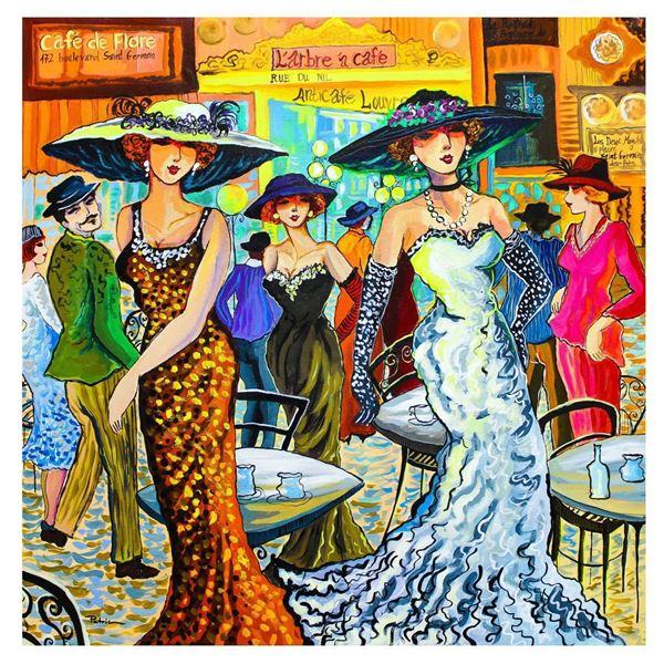 "Patricia Govezensky- Original Acrylic on Canvas ""Dancing In the coffee shop"""