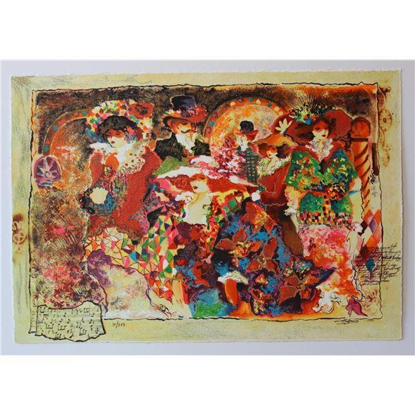 "Sergey Kovrigo- Set of 6 Serigraph on Paper ""Rendezvous, Friendship, Pleasures, Red Bouquet, Wine an"