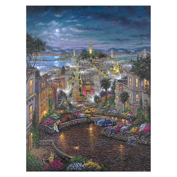 """Robert Finale, """"Moonlight O Lombard"""" Hand Signed, Artist Embellished Limited Edition on Canvas with"""
