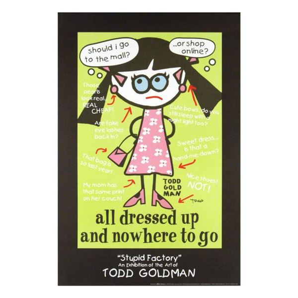 """""""All Dressed Up and Nowhere to Go"""" Collectible Lithograph Hand Signed by Renowned Pop Artist Todd Go"""