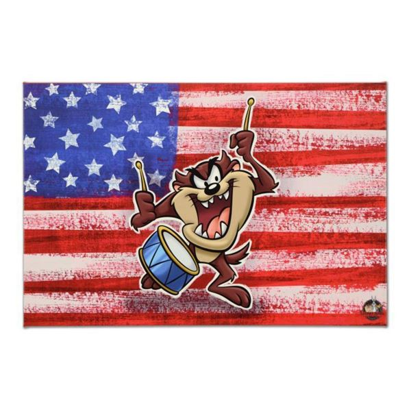 "Looney Tunes, ""Patriotic Series: Taz"" Numbered Limited Edition on Canvas with COA. This piece comes"