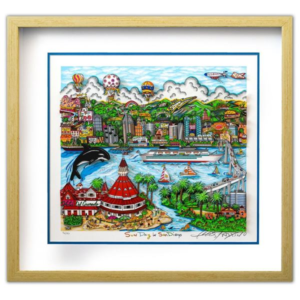 "Charles Fazzino- 3D Construction Silkscreen Serigraph ""Sun Day in San Diego"""