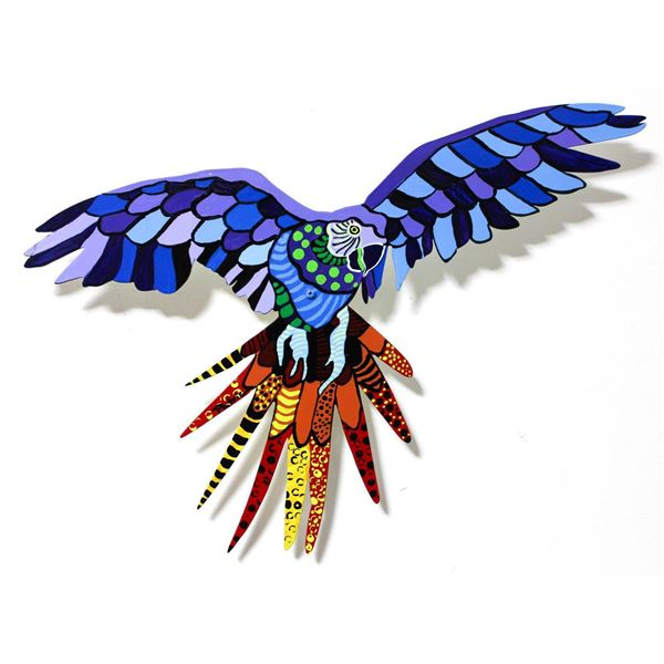 "Patricia Govezensky- Original Painting on Laser Cut Steel ""Macaw V"""