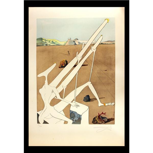 "Salvador Dali- Original Engravings with Lithographic Color ""Dali Martian Muni Double Microscope Holo"