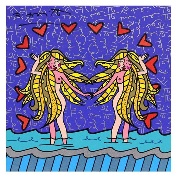 """Britto, """"Gemini Girls (White)"""" Hand Signed Limited Edition Giclee on Canvas; Authenticated."""