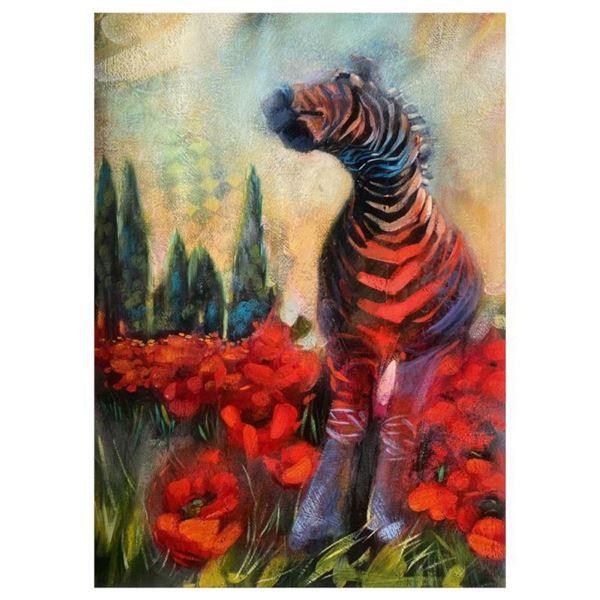 "Elli Milan, ""Zebra Study"" Hand Signed Original Painting with COA."