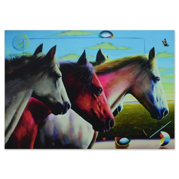 """Ferjo, """"Wild Stallions"""" Limited Edition on Gallery Wrapped Canvas, Numbered and Signed with Letter o"""