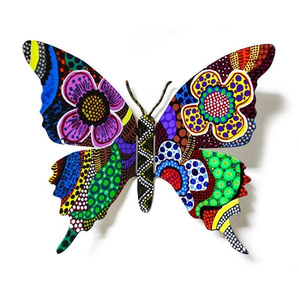 "Patricia Govezensky- Original Painting on Cutout Steel ""Butterfly LXXXV"""