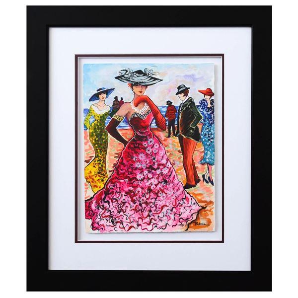"""Patricia Govezensky- Original Watercolor """"Rio De Janeiro beach"""""""