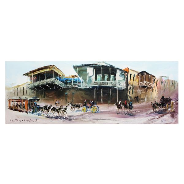"Shalva Phachoshvili- Original Oil on Canvas ""Main Street"""