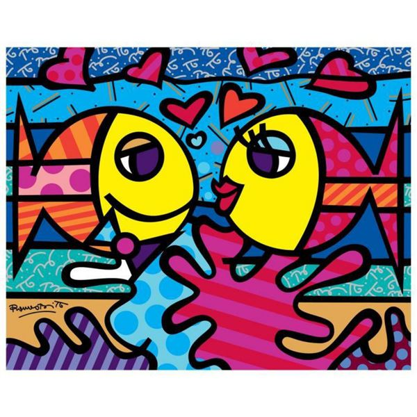 """Romero Britto """"New Deeply In Love"""" Hand Signed Giclee on Canvas; Authenticated"""