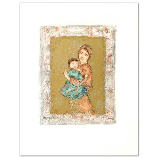 """""""Golden Dreams"""" Limited Edition Lithograph by Edna Hibel (1917-2014), Numbered and Hand Signed with"""