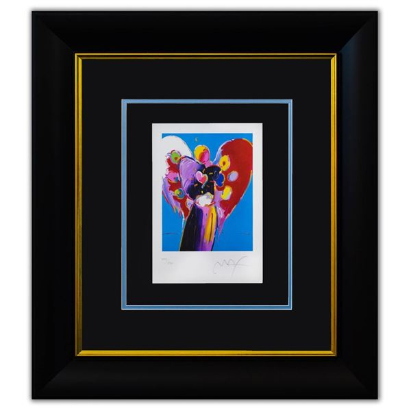 """Peter Max- Original Lithograph """"Blue Angel with Heart"""""""