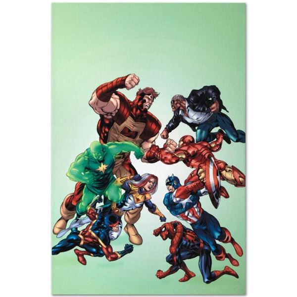"""Marvel Comics """"New Thunderbolts #3"""" Numbered Limited Edition Giclee on Canvas by Tom Grummett with C"""