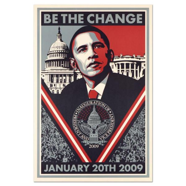 """Shepard Fairey, """"Be the Change"""" Barack Obama Inauguration Collectible Lithograph, with Letter of Aut"""