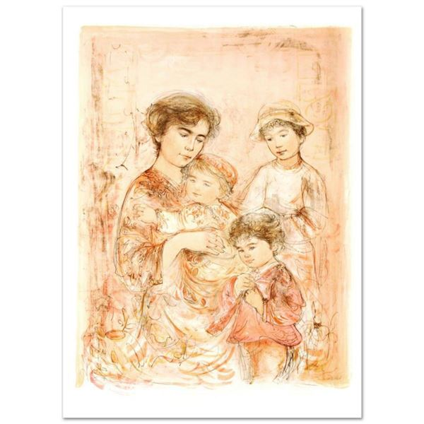 """""""Lotte and Her Children"""" Limited Edition Lithograph (27"""" x 37.5"""") by Edna Hibel (1917-2014), Numbere"""