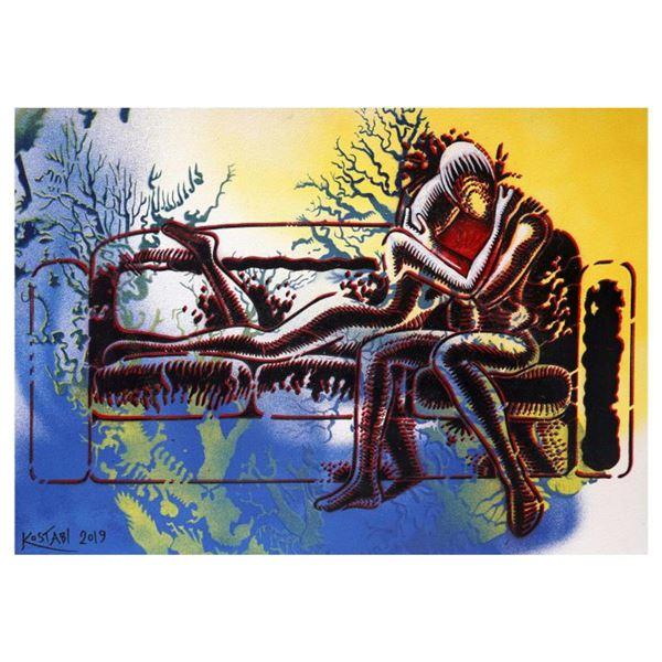 "Mark Kostabi ""Dawn At Last"" Hand Signed Original Artwork with COA."