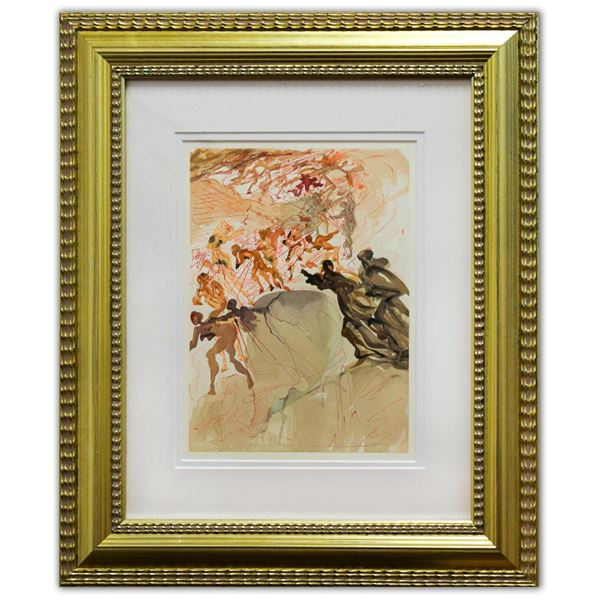 "Salvador Dali- Original Color Woodcut on B.F.K. Rives Paper ""Purgatory 25"""