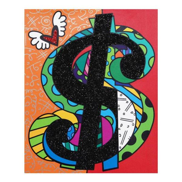 """Romero Britto """"Money Talks"""" Hand Signed Limited Edition Giclee on Canvas; Authenticated"""