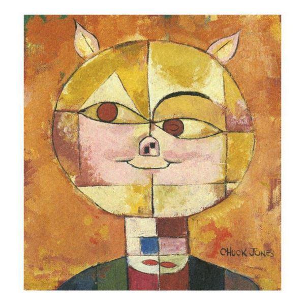 """Chuck Jones """"Portrait De Cochon"""" Hand Signed Limited Edition Fine Art Stone Lithograph."""