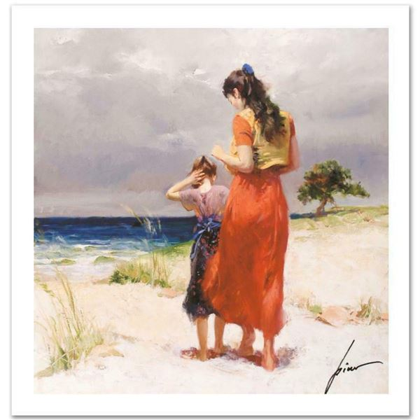 """Pino (1939-2010) """"Beach Walk"""" Limited Edition Giclee. Numbered and Hand Signed; Certificate of Authe"""
